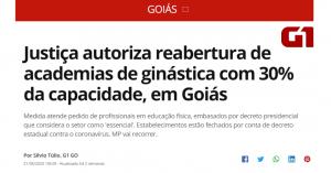 Justiça autoriza reabertura de academias de ginástica, em Goiás